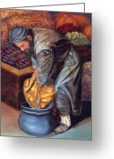 Men Reliefs Greeting Cards - Fruit Vendor Greeting Card by Enzie Shahmiri
