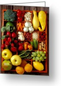 Peaches Greeting Cards - Fruits and vegetables in compartments Greeting Card by Garry Gay
