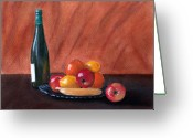 Cocktails Pastels Greeting Cards - Fruits and Wine Greeting Card by Anastasiya Malakhova