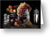 Chess Pieces Greeting Cards - Fruity Wine Still Life Selective Coloring Greeting Card by Tom Mc Nemar