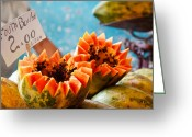 Papaya Greeting Cards - Fruta bomba Greeting Card by Nicole Neuefeind