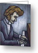 Fine Arts Pastels Greeting Cards - Fryderyk Chopin - Prelude in E-Minor Greeting Card by Kamil Swiatek