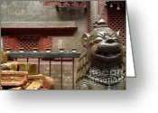 Foo Lions Greeting Cards - Fu and Nepal Bricks Greeting Card by Serena Bowles