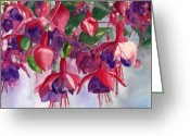Hanging Greeting Cards - Fuchsia Frenzy Greeting Card by Lynne Reichhart