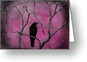Passerines Greeting Cards - Fuchsia Greeting Card by Gothicolors With Crows