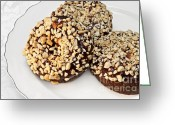 Chocolate Fudge Greeting Cards - Fudge Nut Delights Greeting Card by Andee Photography