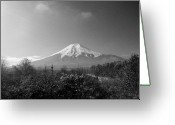 Snowcapped Greeting Cards - Fujisan Injapan Greeting Card by B&W landscape street