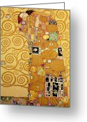 1905 Greeting Cards - Fulfilment Stoclet Frieze Greeting Card by Gustav Klimt