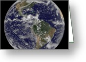 Terra Greeting Cards - Full Earth Showing North America Greeting Card by Stocktrek Images
