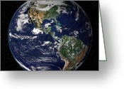 Earth Map Greeting Cards - Full Earth Showing North And South Greeting Card by Stocktrek Images
