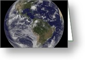 Disasters Greeting Cards - Full Earth With Hurricane Irene Visible Greeting Card by Stocktrek Images