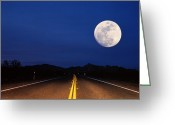 Double Yellow Line Greeting Cards - Full Moon Above Empty Road At Night, Usa Greeting Card by Siegfried Layda