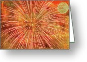 Fire Works Greeting Cards - Full Moon and Fireworks Greeting Card by Randy Steele