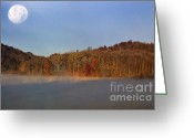 Thomas R. Fletcher Greeting Cards - Full Moon Big Ditch Lake Greeting Card by Thomas R Fletcher