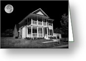 Scary Mansion Greeting Cards - Full Moon Estate Greeting Card by Ricky Barnard