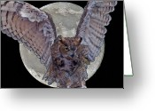 Owl Digital Art Greeting Cards - Full Moon Greeting Card by Larry Linton