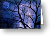Storm Digital Art Greeting Cards - Full Moon Lighting Greeting Card by Randy Steele