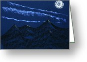 Wispy Greeting Cards - Full Moon Night Greeting Card by Hakon Soreide