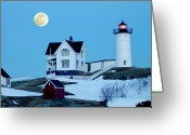 Neddick Greeting Cards - Full Moon Nubble Greeting Card by Greg Fortier