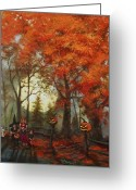 Trick Painting Greeting Cards - Full Moon on Halloween Lane Greeting Card by Tom Shropshire