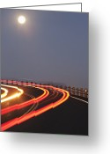 Yellow Line Greeting Cards - Full Moon Over a Curving Road Greeting Card by Jetta Productions, Inc