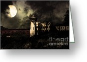Criminals Greeting Cards - Full Moon Over Hard Time - San Quentin California State Prison - 7D18546 - Partial Sepia Greeting Card by Wingsdomain Art and Photography