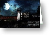 Criminals Greeting Cards - Full Moon Over Hard Time - San Quentin California State Prison - 7D18546 Greeting Card by Wingsdomain Art and Photography