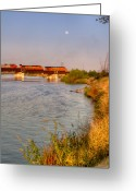 Restful Greeting Cards - Full Moon Over Kern River Greeting Card by Connie Cooper-Edwards