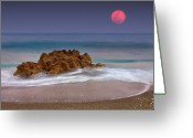 Idyllic Greeting Cards - Full Moon Over Ocean And Rocks Greeting Card by Melinda Moore