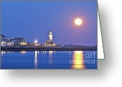 Moonrise Photo Greeting Cards - Full Moon over Scituate Light Greeting Card by Susan Cole Kelly