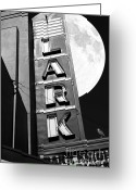 White Wing Greeting Cards - Full Moon Over The Lark - Larkspur California - 5D18489 - Black and White Greeting Card by Wingsdomain Art and Photography