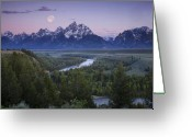 Grand Tetons National Park Greeting Cards - Full Moon Over the Tetons Greeting Card by Andrew Soundarajan