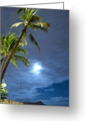 Diamond Head Greeting Cards - Full moon over Waikiki Greeting Card by Richard Keith