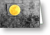 Photo Manipulation Greeting Cards - Full Moon Greeting Card by Rebecca Sherman