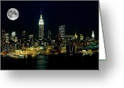 Full Moon Greeting Cards - Full Moon Rising - New York City Greeting Card by Anthony Sacco