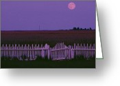 Wood Fences Greeting Cards - Full Moon Rising Over A Picket Fence Greeting Card by Robert Madden