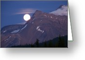 Lake Low Country Greeting Cards - Full Moon Rising Over The Rockies Greeting Card by Greg Hammond