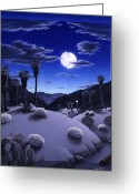Snake Painting Greeting Cards - Full Moon Rising Greeting Card by Snake Jagger