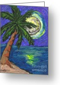 Caribbean Art Pastels Greeting Cards - Full Moon Rising Greeting Card by William Depaula