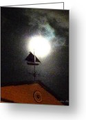 Weathervane Greeting Cards - Full Moon Greeting Card by Sabine Stetson