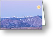 Moon Set Greeting Cards - Full Moon Setting Over The Colorado Rocky Mountains Greeting Card by James Bo Insogna