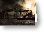 Traffic Greeting Cards - Full Moon Surreal Night At The Bay Area Richmond-San Rafael Bridge - 5D18440 - Sepia Greeting Card by Wingsdomain Art and Photography