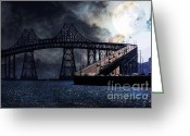 Steel Construction Greeting Cards - Full Moon Surreal Night At The Bay Area Richmond-San Rafael Bridge - 5D18440 Greeting Card by Wingsdomain Art and Photography
