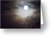 Ym_art Greeting Cards - Full Moon  Greeting Card by Yvon -aka- Yanieck  Mariani