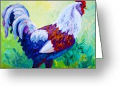 Rooster Greeting Cards - Full Of Himself - Rooster Greeting Card by Marion Rose