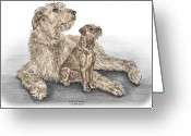 Pencil Drawing Drawings Greeting Cards - Full of Promise - Irish Wolfhound Dog Print color tinted Greeting Card by Kelli Swan