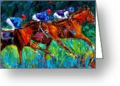 Churchill Downs Greeting Cards - Full Speed Greeting Card by Debra Hurd