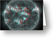 Flares Greeting Cards - Full Sun With Lots Of Sunspots Greeting Card by Stocktrek Images