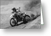 Motorcycle Racing Greeting Cards - Full Throttle Monochrome Greeting Card by Bob Christopher