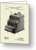 Antique Artwork Greeting Cards - Fuller and Griswold Cash Register 1890 Patent Art Greeting Card by Prior Art Design